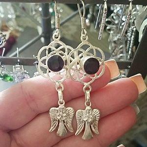 REAL GENUINE onyx Dangling SILVER ANGEL earrings